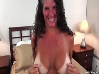 Boob, Booty, Brunette, Busty, Cumshot, Facial, Fucking, Horny, Milf, Missionary, Orgasm, Pov, Shaved, Snatch, Tan Lines
