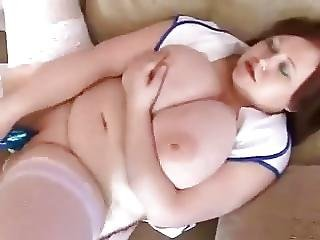 Chubby Nurse With Huge Melons Fucks Herself