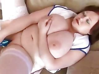 Chubby Nurse With Huge Melons Fucks Herself