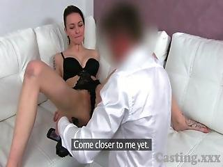 Casting Hot Brunette Wearing Sexy Lingerie Gets Creampie In Interview