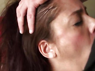 Breasty British Sub Spunked In Face Hole Twice