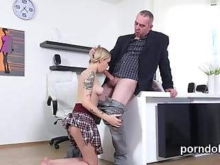 Adorable Sweetie Is Being Tempted By Her Older Instructor To Suck Dick And Have Hardcore Fucking In The Classroom