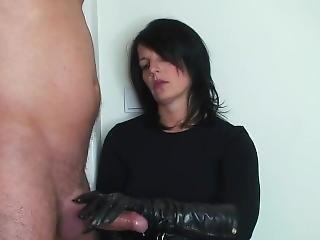 Handjob In Leather Gloves