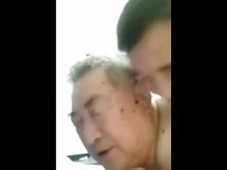 Chinese Grandpa And Daddy In Bathroom..22