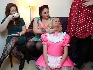 Pvc Sissy Maid With Three Sexy Mistresses