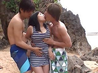 Jav Star Airi Minami And Her Two Best Male Buddies Bond Over Nature And The Surf By Having A Threesome Out By The Beach Featuring Groping And Fingering Uncensored In Hd With English Subtitles
