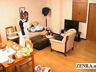 Cfnm, 日本人, メイド, びっくりした, ユニフォーム, 働く場所