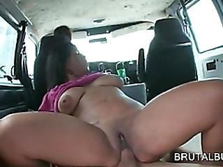 Hot Babe Riding Massive Cock On Bus Floor