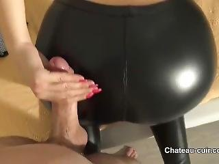 Cum In Leather Leggings