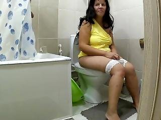 Mom Was In The Toilet When Her Steson Was Taking A Shower. Mom And Son Anal