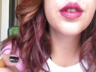 Sexy Brunette Babe Smoking 100 W Pink Lipstick And Fuzzy Hello Kitty Shirt