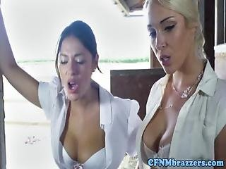 Blowjob, Boob, Busty, Cfnm, Femdom, Fetish, Oral, Pornstar, Seduced, Table Fuck, Threesome, Uniform