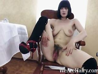 Alina H Undresses And Masturbates On Wooden Chair