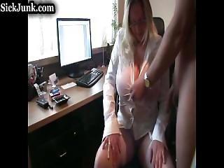 Mom Lets Dad Piss On Her Massive Tits-www.sickjunk.com