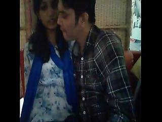 Sexy Indian Couple Having Fun In Restaurant Boob Press Pussy Fingering