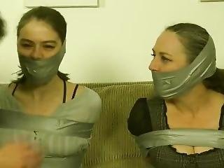 Mother And Daughter Wrap Gagged And Bound