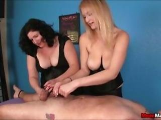 Horny Massage Duo Teasing A Poor Sap