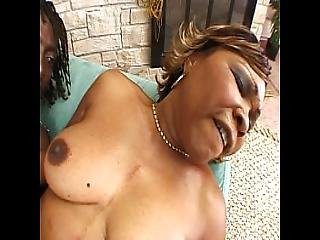 Mature Ebony Rides Huge Black Cock