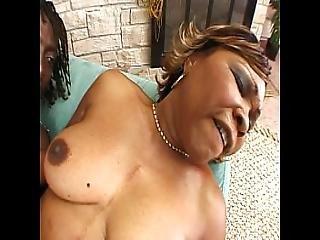 Mature Ebony Rides Huge Black Cock