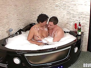 Aged Dark Brown Doxy Acquires Stuffed Wonderful Ina Sexy Tub