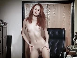 Office Tease Hairy Skinny Redhead Teen Strip Dance