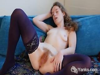 Lovely Ana Fucking A Glass Dildo