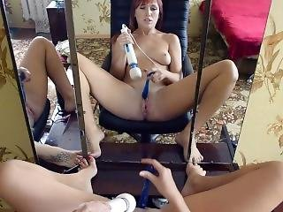 Solo Masturbation And Squirt Before Mirror