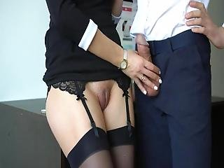 Sexy Secretary In Stockings Makes Boss Cum On Her Dress