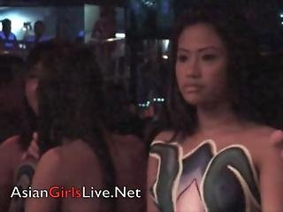Asian Girls Body Painting Filipina Gogo Bar Strippers Show