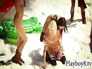 Sexy Badass Girls Try Out Nude Snowboarding And Fishing