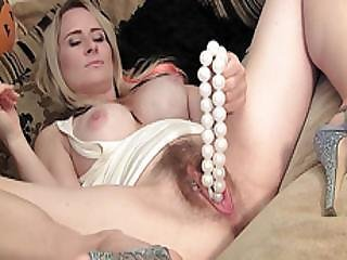 Filthy Blonde Naughty Tinkerbell Inserts Toys Vegetable Necklace Beads Masturbating Wet Orgasm Pussy
