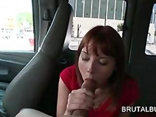 Sweet Redhead Blowing Giant Dick In The Bus