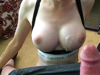 Big Titty Babe Sucking Cock Until He Cums All Over Her Face And Tits
