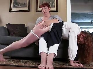 Senior Skipday : Red Haired School Girl Gets A Hard Bare Bottom From Mom