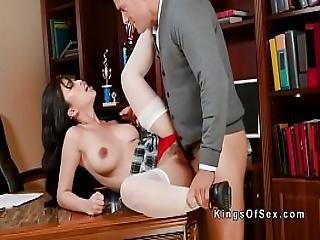 Schoolgirl Bangs Huge Dick Stepdad
