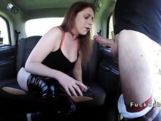 Redhead Deep Throats Massive Dick In Cab