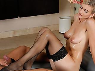 Seductive Amanda Give A Foot Job To Guy Ends Up In A Hot Massage Action