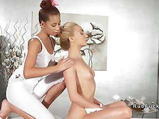 Slim Fit Blonde And Masseuse In Oral Action