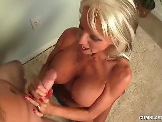 ejaculatie, oma, handjob, volwassen, topless