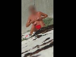 Topless Granny Oiling Tits