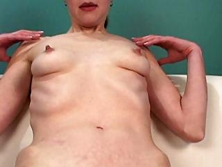 Skinny Brunette Whore Fingers On The Couch
