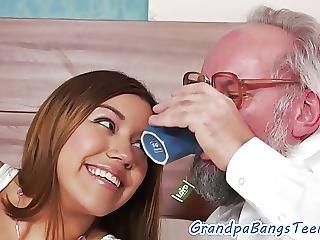 Shavedpussy Teen Jizzed On By Granddad