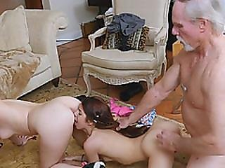 Two Dick Hungry Teens Get Fucked Hard By An Older Dick