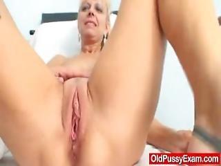 Blond Haired Grandma Anezka Muff Speculum Exploration