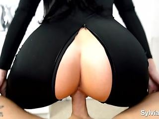 Hot Wife Tight Creamy Pussy Gets Creampied In Sexy Black Catsuit - Pov Sex