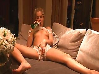 Hammered Blonde Decides To Use The Beer Bottle To Please Herself.