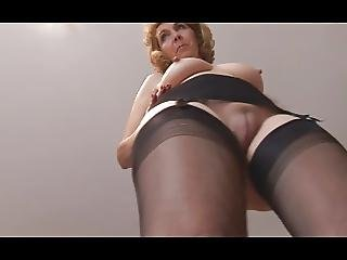 Mature Blonde Babe With Plump Shaved Pussy Lips In Open Gird