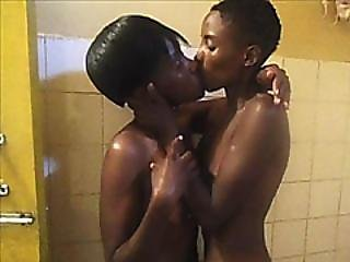 Wet African Lesbians Pearl And Sara Fuck In Bathroom