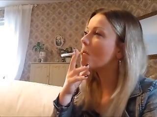 Gorgeous Blonde Smoking