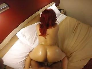 Sexy Red Head Does Pov & Loves It!